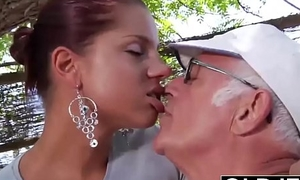 Young Girlfriend caught fucked by aged scrounger she sucks his dick and swallows cum
