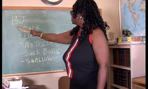 Sexy grand up black teacher fucks her succulent pussy be proper of you