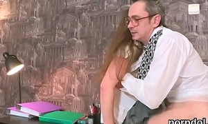 Natural bookworm gets tempted and banged off out of one's mind her aged schoolteacher