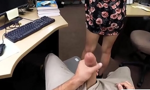 Amateur coed with glasses drilled good at the pawnshop