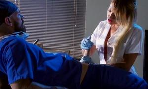 Whorish blonde nurse sucking and fucking doctor's hard cock