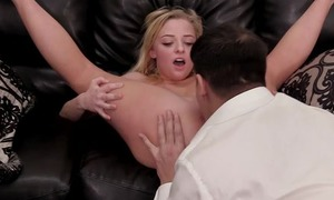 Blonde haired bimbo bends over the desk to get fucked