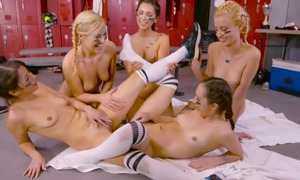 Beautiful young ladies having relaxation down the locker room